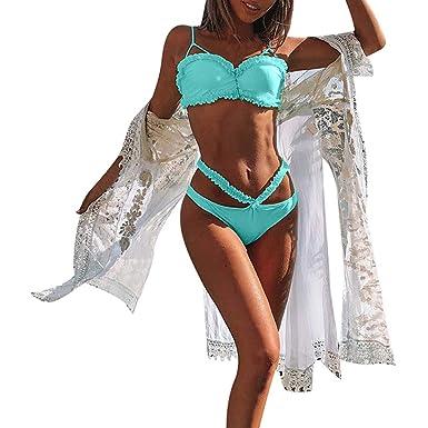 1062991c87a3 Amazon.com: AMSKY Swimwear for Women Two Pieces,Women Solid Bikini ...
