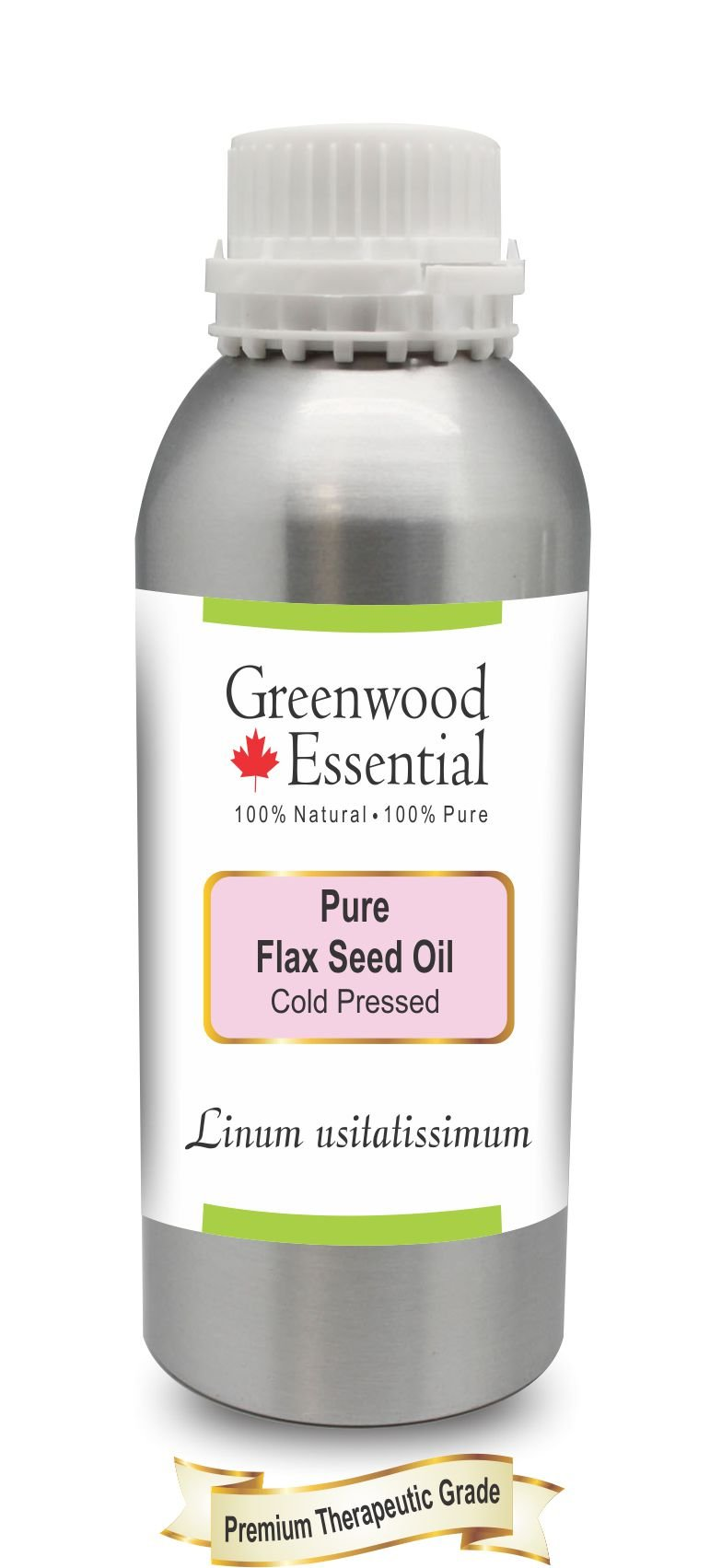 Greenwood Essential Pure Flax Seed Oil (Linum usitatissimum) 100% Natural Therapeutic Grade Cold Pressed 630ml (21.3 oz) by Greenwood Essential