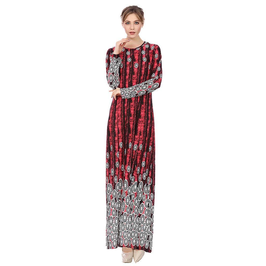 Longra 2019 New Muslim Dress, Women Muslim Arab Islamic Middle East Ethnic Print Long Sleeve Abaya Dress