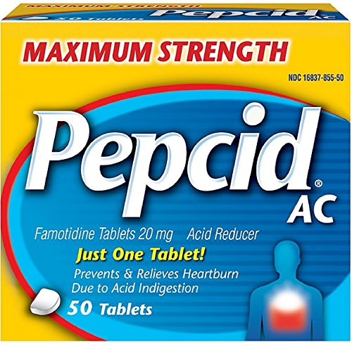 Pepcid AC Tablets Maximum Acid Reducer 50 ea ( Pack of 9) by Pepcid
