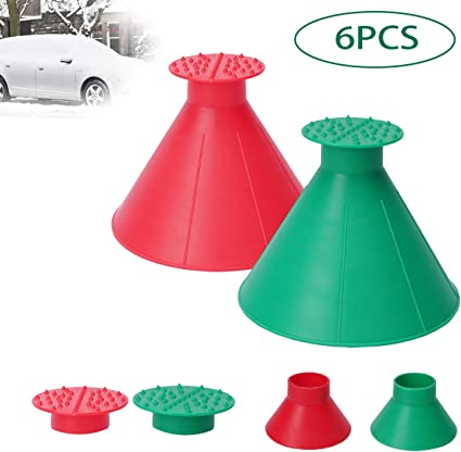 Leaflai Round Windshield Ice Scraper Magic Cone-Shaped Funnel Ice Breakers Car Windshield Ice Scrapers Snow Scraper Snow Removal Tools Large Size 4 PCS