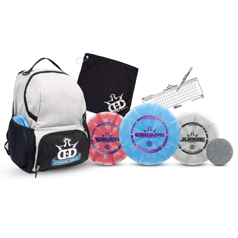 Dynamic Discs Disc Golf Starter Set | Gray/Black Cadet Disc Golf Bag Included | 17+ Disc Capacity | Prime Burst Disc Golf Frisbee Set Included | Putter, Midrange, Driver | 170g plus | Colors will vary