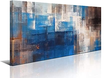 Abstract Wall Art Canvas Print Picture Painting For Living Room Large Blue Gray Brown Abstract Decoration Home Bedroom Bathroom Office Decoration