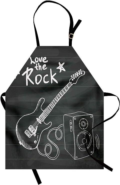 ABAKUHAUS Guitarra Delantal de Cocina, Ama La Música Rock Boceto ...