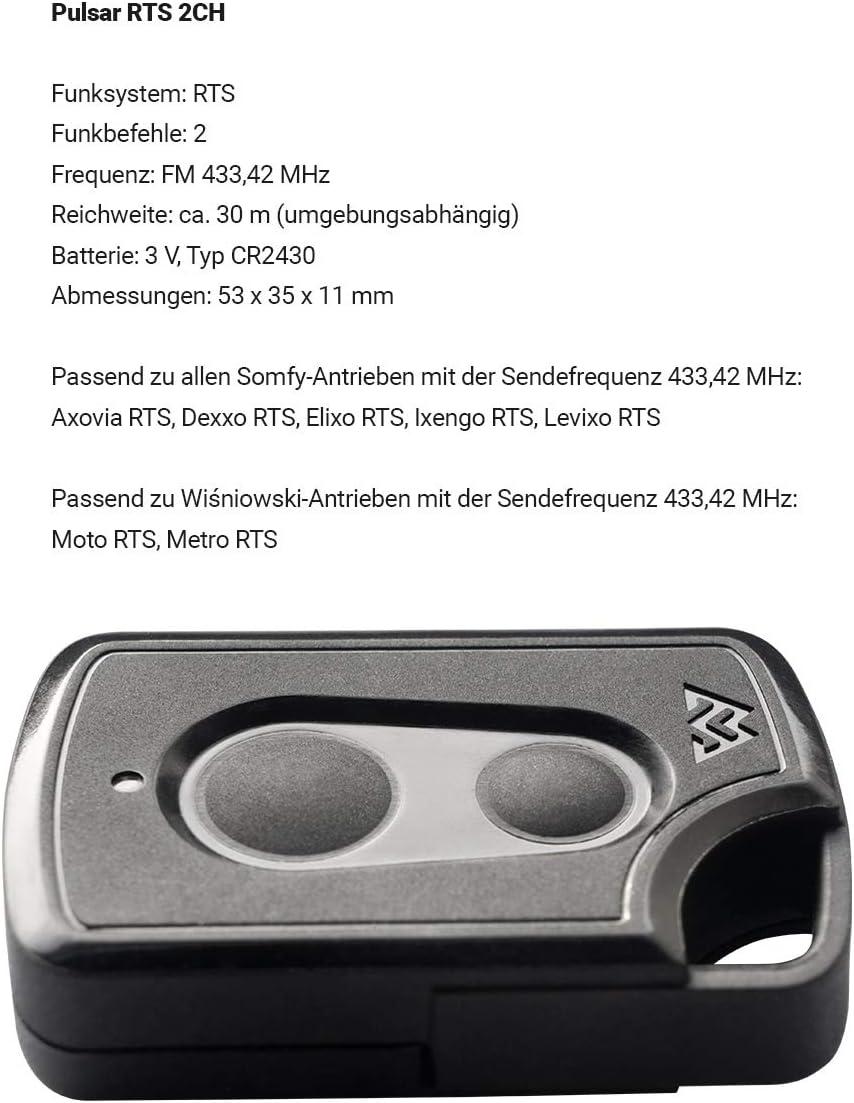 433MHz + 1 St/ück ADAMS Schl/üsselanh/änger//Einkaufschip 1er Pack Wisniowski 2-Befehl Handsender Pulsar RTS 2CH