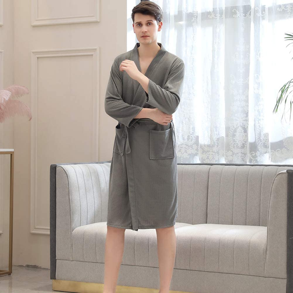 hotel Accappatoio in cotone a maniche lunghe con motivo a nido dape leggero morbido ad asciugatura rapida piscina m Grey per spa