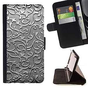 Momo Phone Case / Flip Funda de Cuero Case Cover - Cristal Metal plateado Dise?o floral gris - Motorola Moto E ( 2nd Generation )
