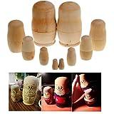 5pcs/set Unpainted DIY Blank Wooden Embryos Russian Nesting Dolls Matryoshka Toy