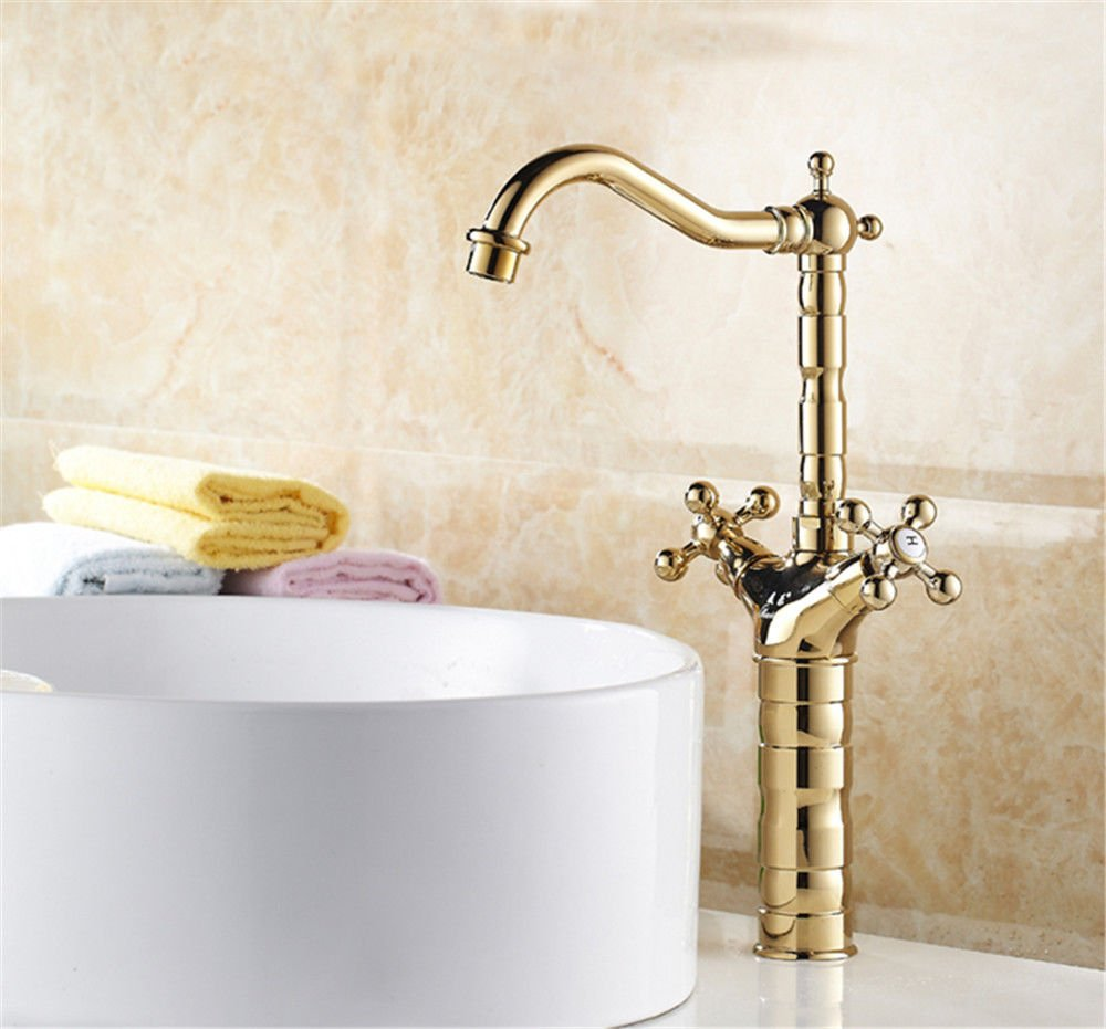 Fbict gold Black European Faucet Antique Copper Single Hole Faucet Heightening Retro Basin Basin hot and Cold Above Counter Basin for Kitchen Bathroom Faucet Bid Tap