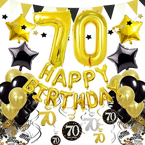 Cocodeko 70th Birthday Decorations, Black Gold Happy Birthday Balloons Number 70 Star Foil Balloons Birthday Confetti Triangular Garland Star-shaped Banner Hanging Swirls for Birthday Party Supplies]()