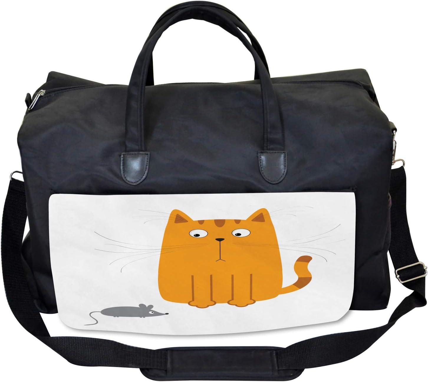 Large Weekender Carry-on Kitty Fun Humor Kids Ambesonne Cartoon Gym Bag