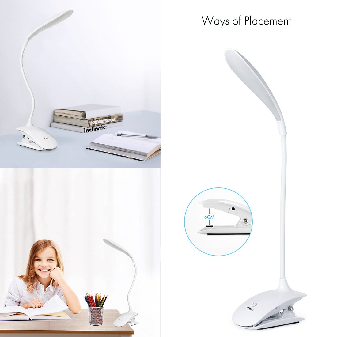 iCKER Desk Lamp with 16 LEDs, Clip on Reading Light for Books in Bed, 3 Levels Brightness, USB Rechargeable, 360° Flexible Gooseneck, Adapter Included by iCKER (Image #6)
