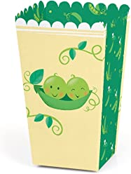 Double The Fun - Twins Two Peas in a Pod - Baby Shower or First Birthday Party Favor Popcorn Treat Boxes - Set of 12