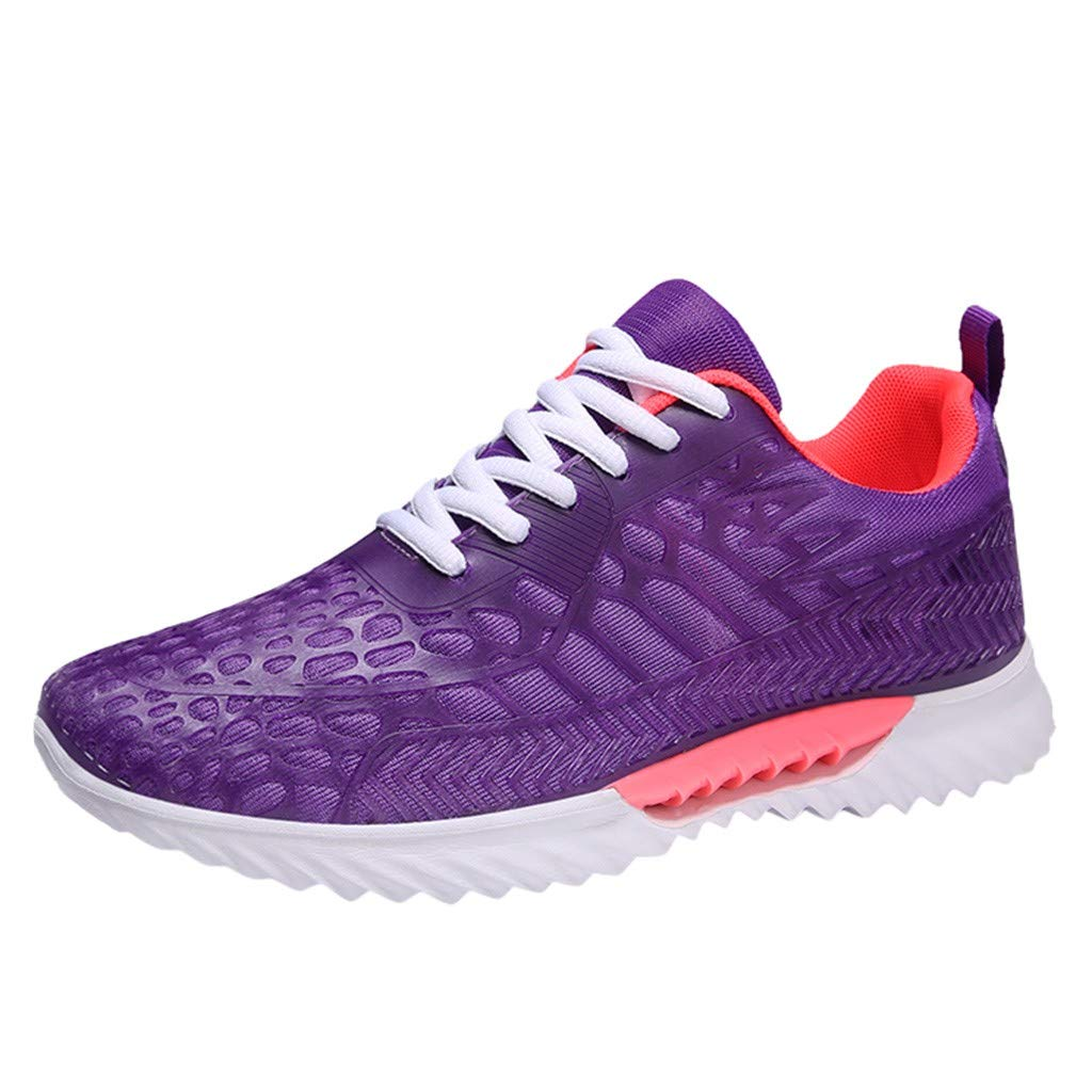Mesh Lace Up Athletic Shoes Couple Breathable Sports Sneaker Summer Comfortable Gym Walking Running Shoes Non-Slip Loafer (Purple, US:6)