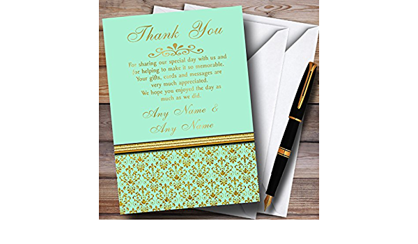 Gold And Cool Mint Green Vintage Personalized Wedding Thank You Cards