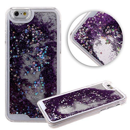Apple iPhone SE / 5 / 5s Liquid Glitter Flowing Waterfall Quicksand Diamond Fashion Water Bling Movable Sparkle Cute Girly Kawaii Stars Case Dynamic Back [Hard + Gel Cover] By Tech Express (Purple)