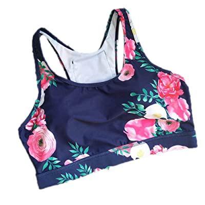 MNXNEZ Woman's Pro Padded Compression Sports Bra Sportswear Strap Printed Yoga Bra Top