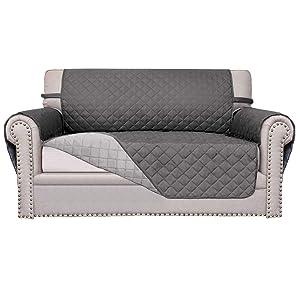 Easy-Going Sofa Slipcover Reversible Sofa Cover Furniture Protector Anti-Slip Foams Couch Cover Water Resistant Elastic Straps PetsKidsChildrenDogCat(Loveseat,Gray/Light Gray)