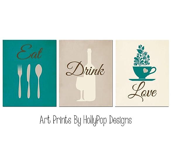 Beau Teal Brown Kitchen Art Print Set   Eat Drink Love   Dining Room Decor   Wine