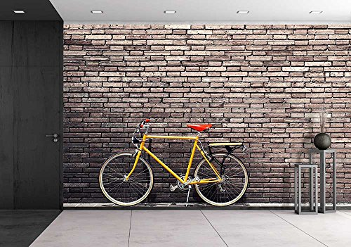 wall26 - Retro Bicycle on Roadside with Vintage Brick Wal...