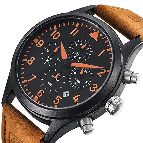 Benyar Fashion Mens Quartz Waterproof Watches Sport Leather Band Strap Wrist Watch Four Chronograph Sub Dial