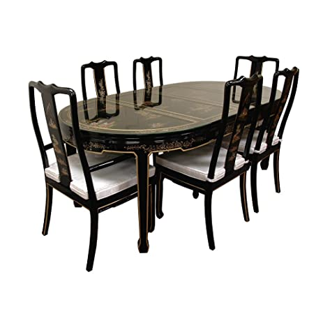 Oriental Furniture Hand Painted On Black Lacquer Dining Table W 6 Chairs