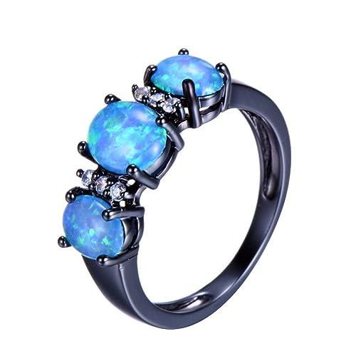 Amazon.com: Anillo de TF ovalado azul con ópalo de fuego ...