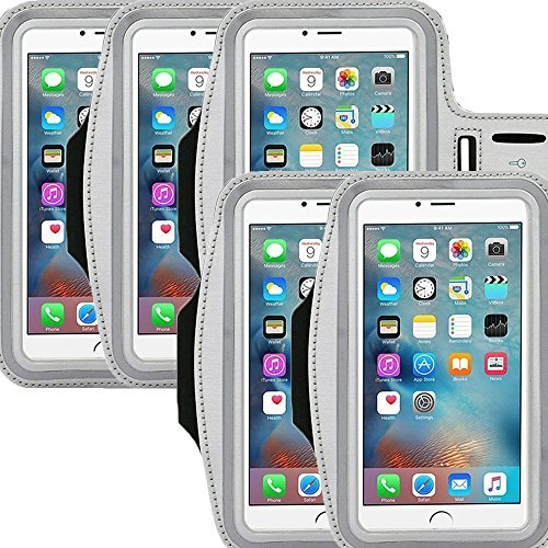 Universal Sports Armband Casehigh Shop Running-Exercise Gym Sportband Water Resistant Sweat Proof Key Holder Running Pouch Touch Good For hiking,Biking,Walking Screen Up To 5.7 inch (Silver 5 Pack)