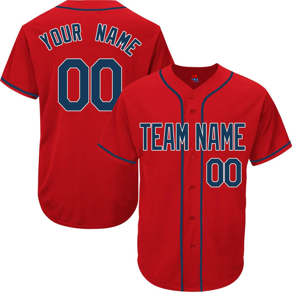 Red Custom Baseball Jersey for Women Practice Embroidered Your Name & Numbers,Navy-White Size M by Pullonsy