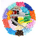 LIHAO Snap Pliers + 300 Set T5 Plastic Buttons Fastener 20 Colors Poppers