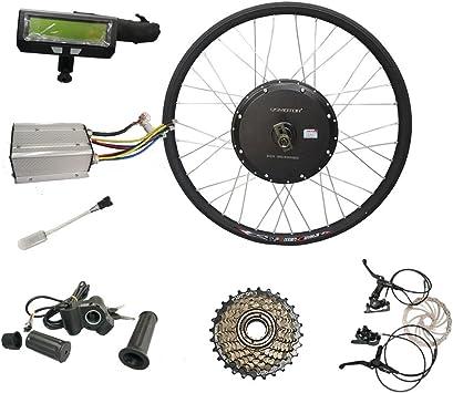 QSMOTOR Motor de buje de radios de Bicicleta con Kits de conversión 48 V 1000 W 66 cm Kit de Motor de buje de Rueda Trasera para Bicicleta de Carretera: Amazon.es: Deportes