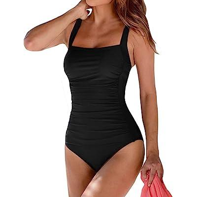Leslady Banadores Mujer Reductores Mujer Color sólido Traje de baño Bandeau Monokini Body Shaping Correa de Hombro Ajustable Trajes de una Pieza