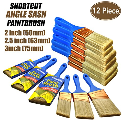 12 Piece(2 inch,2.5inch,3inch) Professional Painters selected,touch up paint brush,paint brush for walls,paint brushes,paint brush,paint brush set,polyester paint brush,paint brush se,trim paint brush by Genuine