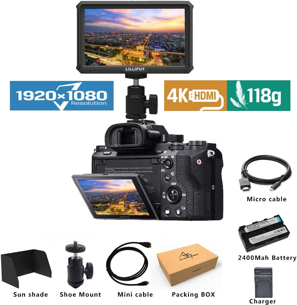 Lilliput A5 Lightweight 5 inch 1920x1080 HD 441ppi IPS Screen Camera Field Monitor 4K HDMI Input output with Battery and charge