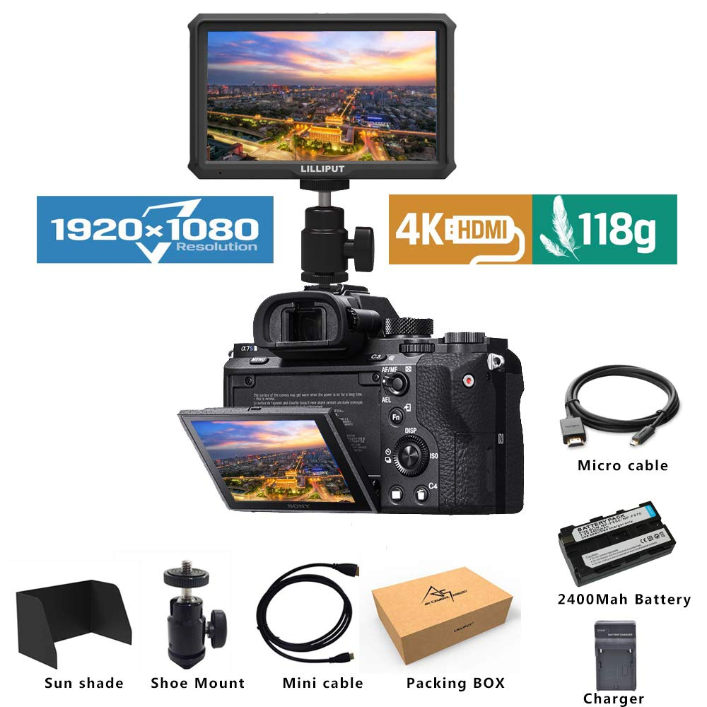 Lilliput A5 Lightweight 5 inch 1920x1080 HD 441ppi IPS Screen Camera Field Monitor 4K HDMI Input output with Battery and charge by Lilliput