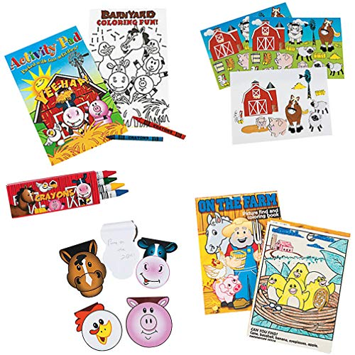 (Mr. E=mc2 Farm Animal Stickers, Coloring Book, Crayons, Activity Pad and Notepads for Kids - 9 Pcs - Fun Farm Activities for Birthday Party Favors/Supplies)
