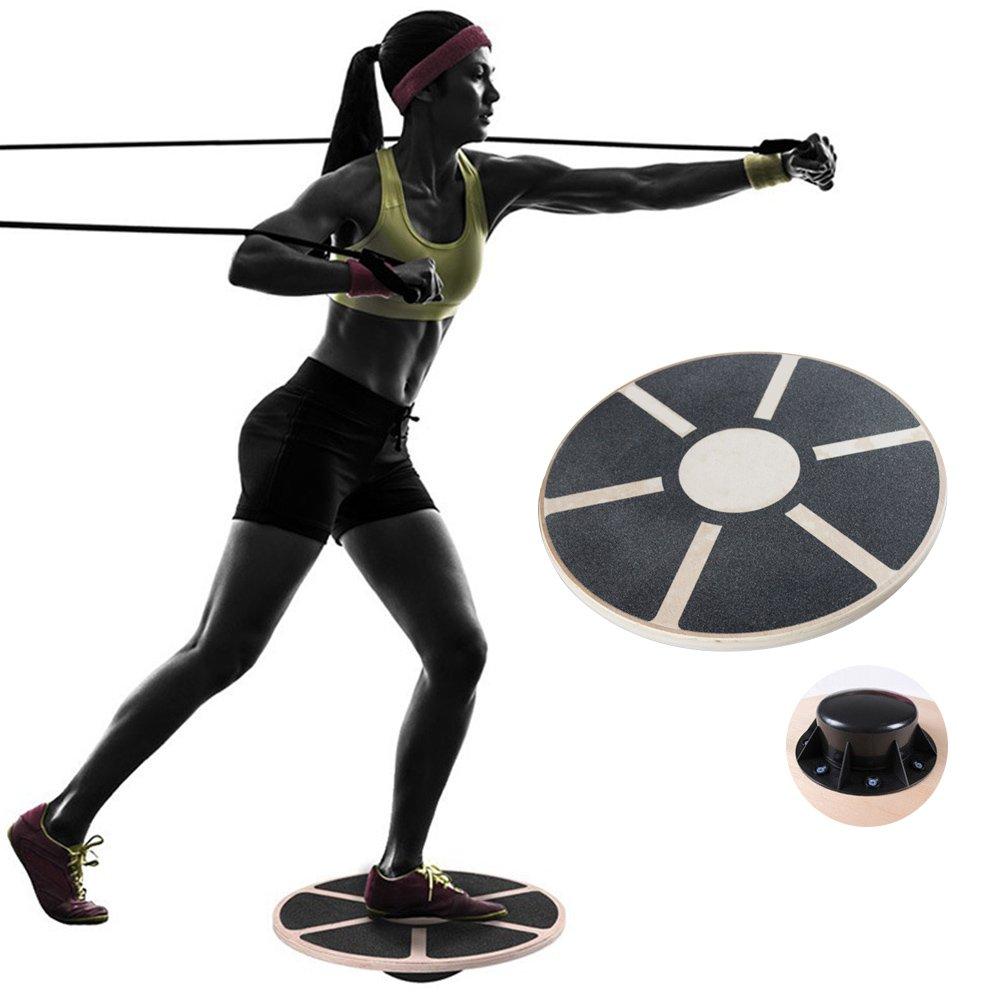 Fitnessバランスボード木製Wobbleボード円形ノンスリップ – 練習ジム/安定性トレーニング/物理療法/リハビリ/ヨガ   B07DCQMYGQ