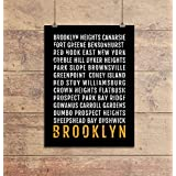 Brooklyn Print - Neighborhoods - Subway Sign Poster, Wall Art, Décor, Canvas, Word Map, Gift, Bus Scroll, Typography, Minimal, Custom, Personalized
