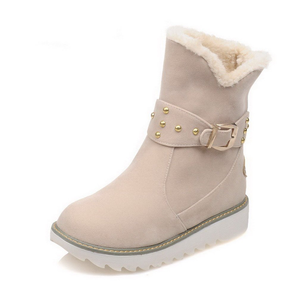 WeiPoot Women's Low-top Pull-on Frosted Low-Heels Round Closed Toe Snow-Boots, Beige, 42