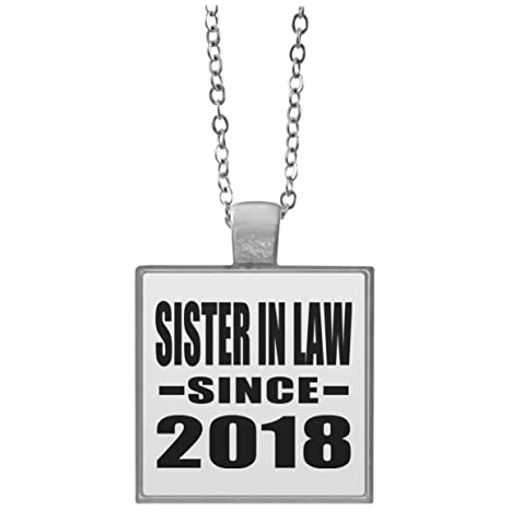 Amazon Designsify Sister In Law Since 2018 Square Necklace