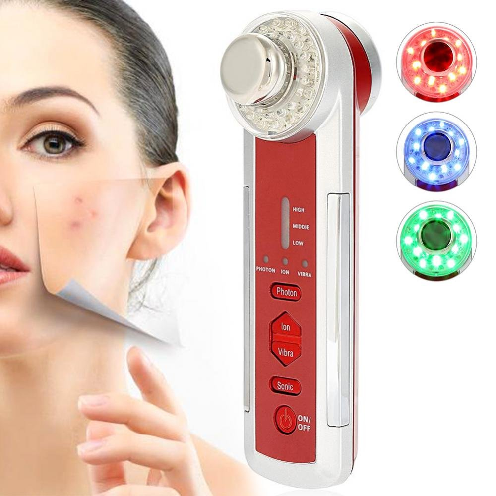 Beauty Machine, 4 IN 1 Photon and Cosmetic Machine LED Electric Facial Massager Machine, Anti-Wrinkle Anti-Aging Acne Skin Tightening for Skin Rejuvenation Yotown