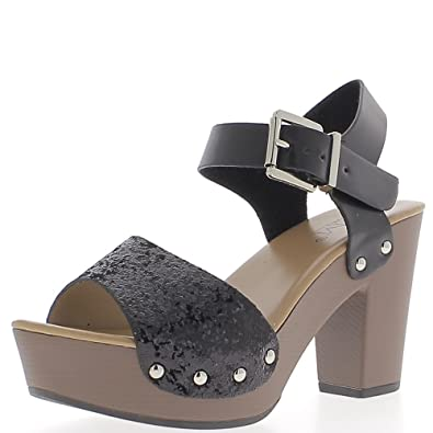 82dbd464676 ChaussMoi Black Big 9.5 cm Heel and Platform Sandals Thick Aspect Leather  and Sequins - 8