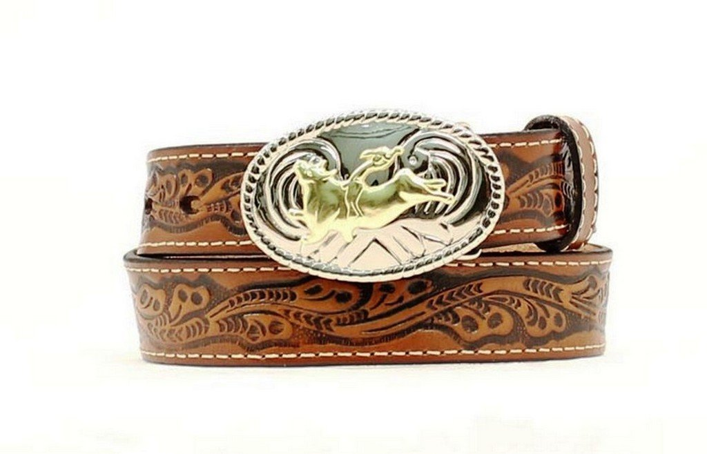 Nocona Boy's Bull Rider Buckle Belt, Brown, 28