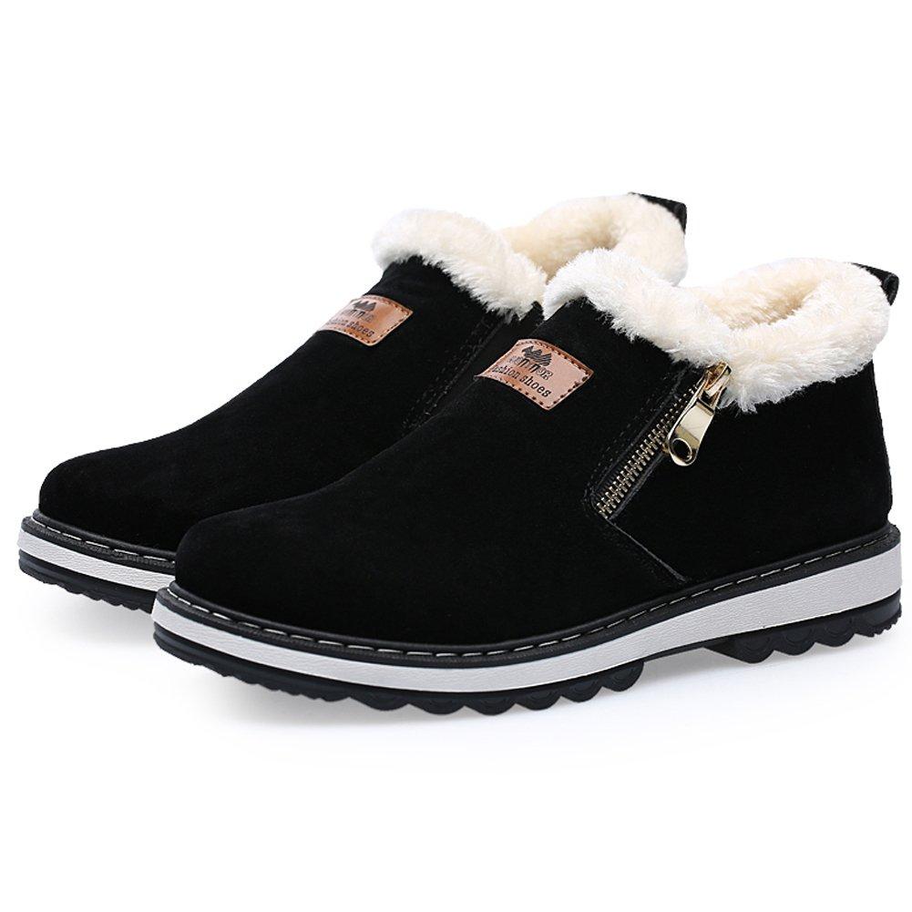 0500f75a5d85d Coolloog Men's High Top Snow Boots Zipper Closed Fur Lined Suede Winter  Shoes