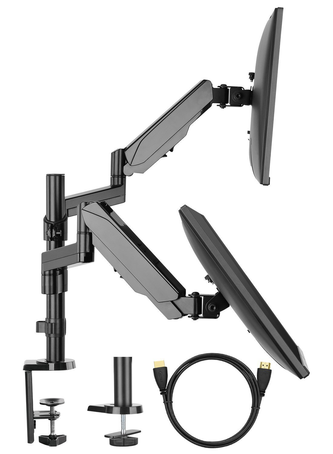 【Gas Spring】Dual Arm Monitor Stand, HUANUO Full Motion Adjustable Monitor Mount Riser with C Clamp/Grommet Base for Two 17 to 32 inch LCD Computer Screens, Each Arm Holds up to 8kg, Bonus HDMI Cable HNDSK2-E