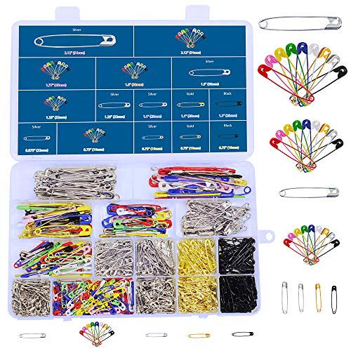 620 Pieces 7 Sizes Safety Pins Assorted Durable, Large Safety Pins Small 19mm – 54mm Strong Heavy Duty Colored Safety Pins for Home Office Use Art Craft Sewing Jewelry Making