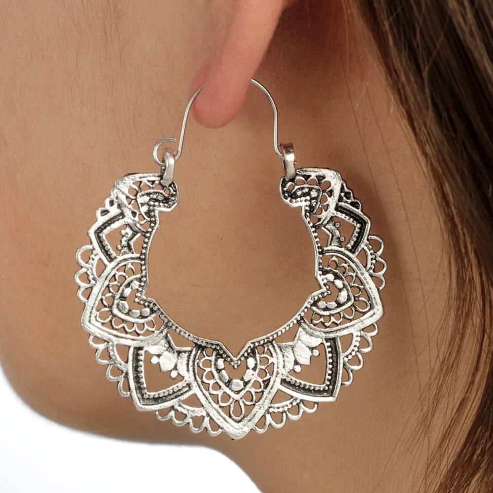 Sinwo Women Trendy Personality Bohemian Retro Shape Stud Earrings Fashion Dangle Earrings Gift (Silver)