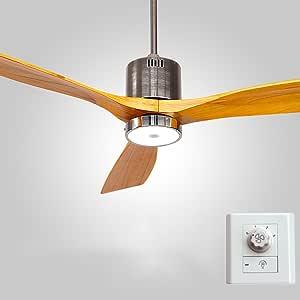 Luz del ventilador LQ Techo Ventilador Antiguo de Restaurante Luces Modernas de Madera Simple Sala de Estar con Ventilador de Techo LED Control de Pared/Control Remoto 12W: Amazon.es: Hogar