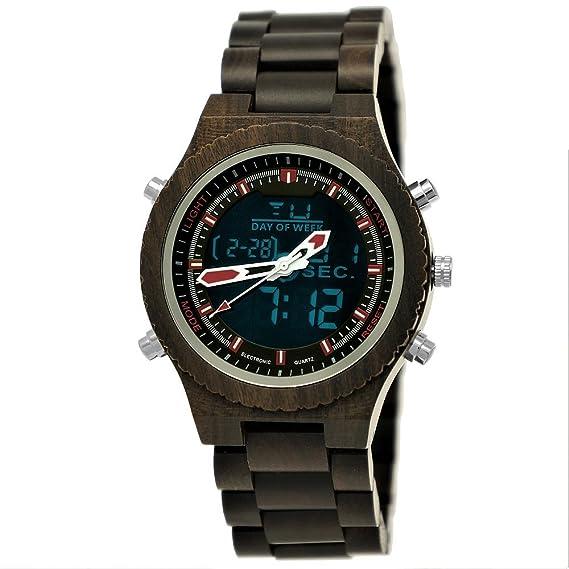 Hecha a mano de madera de Alemania® - Reloj digital de hombre analógico con certificado de madera natural Reloj de pulsera de reloj LED marrón negro rojo: ...