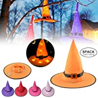 Hamkaw 5Pcs Wearable Halloween Witch Hat with LED Light Hanging Glowing Witch Hat with Hook Halloween Decor for Halloween Party, Outdoor, Yard, Tree